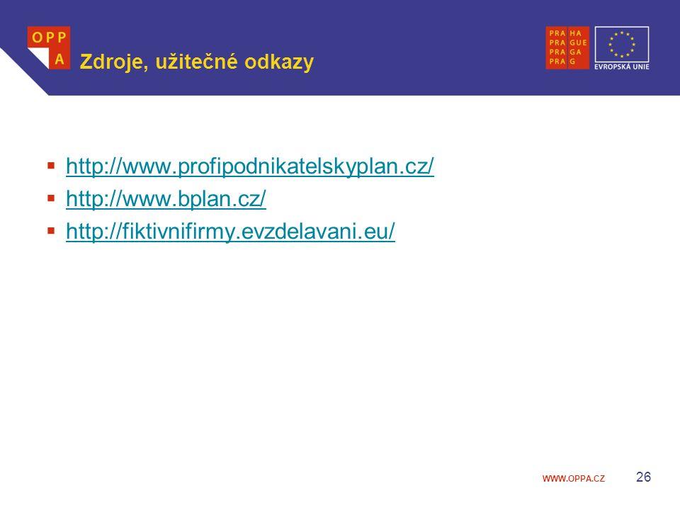 WWW.OPPA.CZ Zdroje, užitečné odkazy  http://www.profipodnikatelskyplan.cz/ http://www.profipodnikatelskyplan.cz/  http://www.bplan.cz/ http://www.bp
