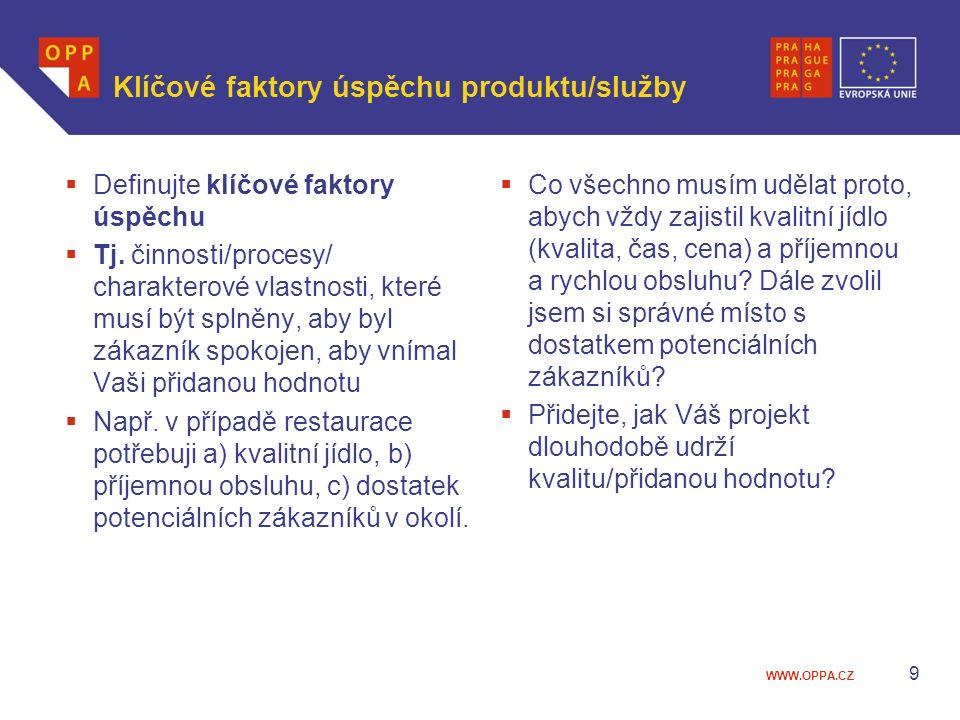 WWW.OPPA.CZ Klíčové faktory úspěchu produktu/služby  Definujte klíčové faktory úspěchu  Tj. činnosti/procesy/ charakterové vlastnosti, které musí bý