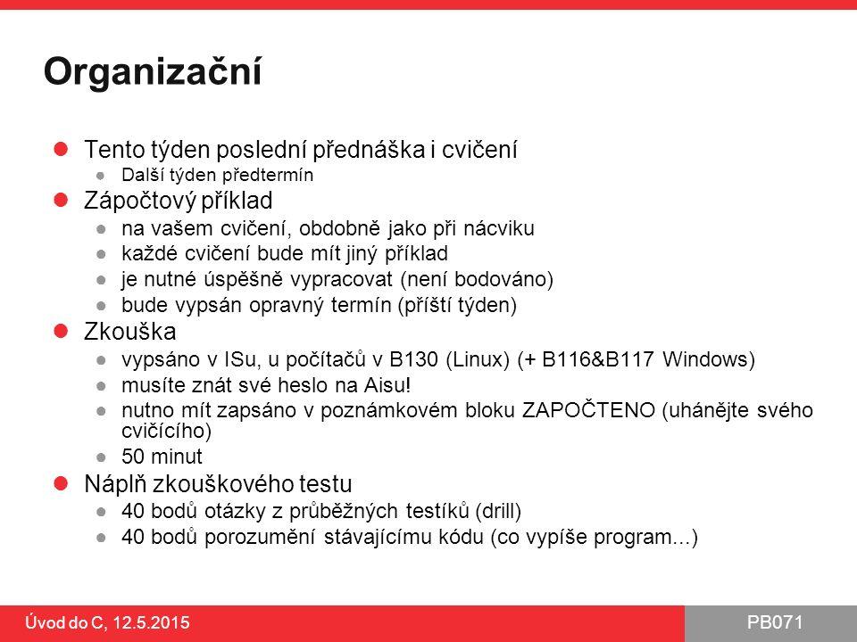 PB071 Shrnutí 1.Buďte si vědomi možných problémů a útoků ●S velkou pravděpodobností budete vytvářet aplikace v síťovém prostředí ●Piště pěkně, nevytvářejte snadno napadnutelný kód ●Nástroje pro automatickou kontrolu za vás všechny problémy nevyřeší 2.Používejte bezpečné verze zranitelných funkcí ●Secure C library (xxx_s funkce s příponou _s, součást standardu C11) ●datové kontejnery, pole a řetězce s automatickou změnou velikosti (C++) 3.Kompilujte se všemi dostupnými ochrannými přepínači překladače ●Kompilujte bez varování (/Wall /Wextra; /W4) ●MSVC: /RTC1,/DYNAMICBASE,/GS,/NXCOMPAT ●GCC: -fstack-protector-all 4.Používejte automatické nástroje pro kontrolu kódu ●statická a dynamická analýza, fuzzing, skenery zranitelností 5.Využívejte ochrany nabízené moderními operačními systémy ●DEP, ASRL...