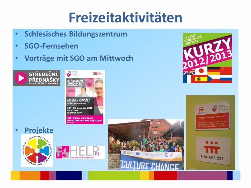 Freizeitaktivitäten Schlesisches Bildungszentrum SGO-Fernsehen Vorträge mit SGO am Mittwoch Projekte