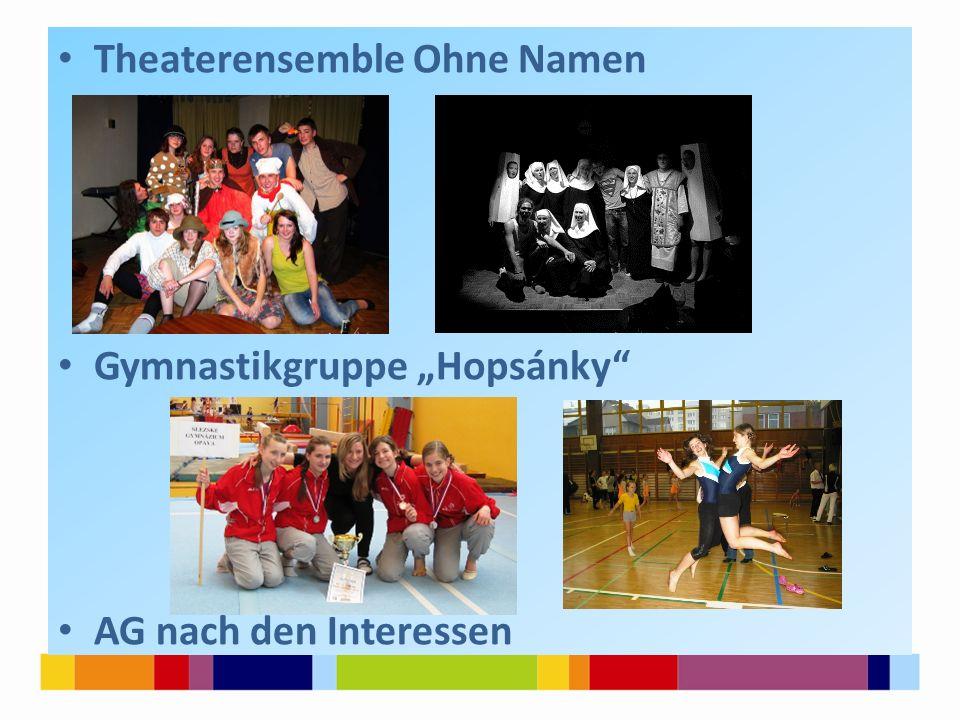 "Theaterensemble Ohne Namen Gymnastikgruppe ""Hopsánky"" AG nach den Interessen"