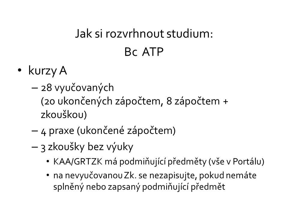 Jak si rozvrhnout studium: Bc ATP kurzy A – 28 vyučovaných (20 ukončených zápočtem, 8 zápočtem + zkouškou) – 4 praxe (ukončené zápočtem) – 3 zkoušky b