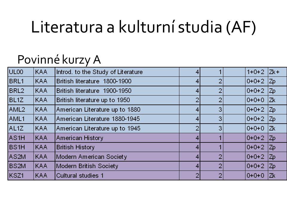 Literatura a kulturní studia (AF) Povinné kurzy A