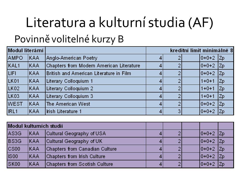 Literatura a kulturní studia (AF) Povinně volitelné kurzy B