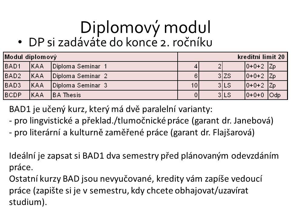 Diplomový modul DP si zadáváte do konce 2. ročníku BAD1 je učený kurz, který má dvě paralelní varianty: - pro lingvistické a překlad./tlumočnické prác