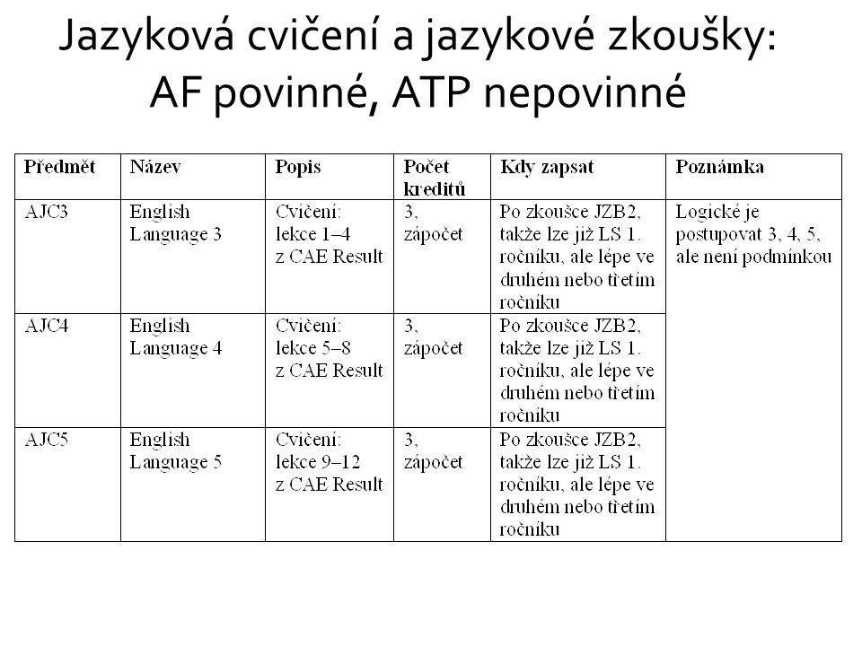 Jazyková cvičení a jazykové zkoušky: AF povinné, ATP nepovinné