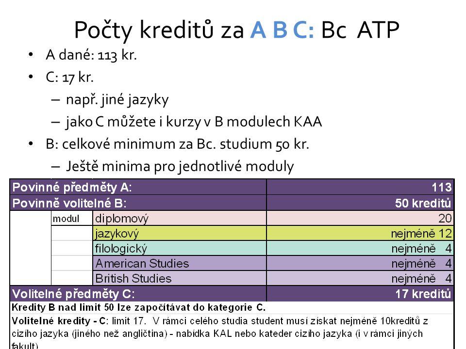 Počty kreditů za A B C: Bc ATP A dané: 113 kr. C: 17 kr. – např. jiné jazyky – jako C můžete i kurzy v B modulech KAA B: celkové minimum za Bc. studiu