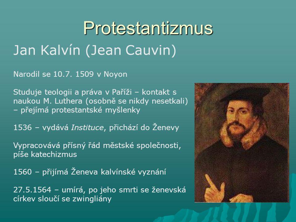Protestantizmus Jan Kalvín (Jean Cauvin) Narodil se 10.7. 1509 v Noyon Studuje teologii a práva v Paříži – kontakt s naukou M. Luthera (osobně se nikd