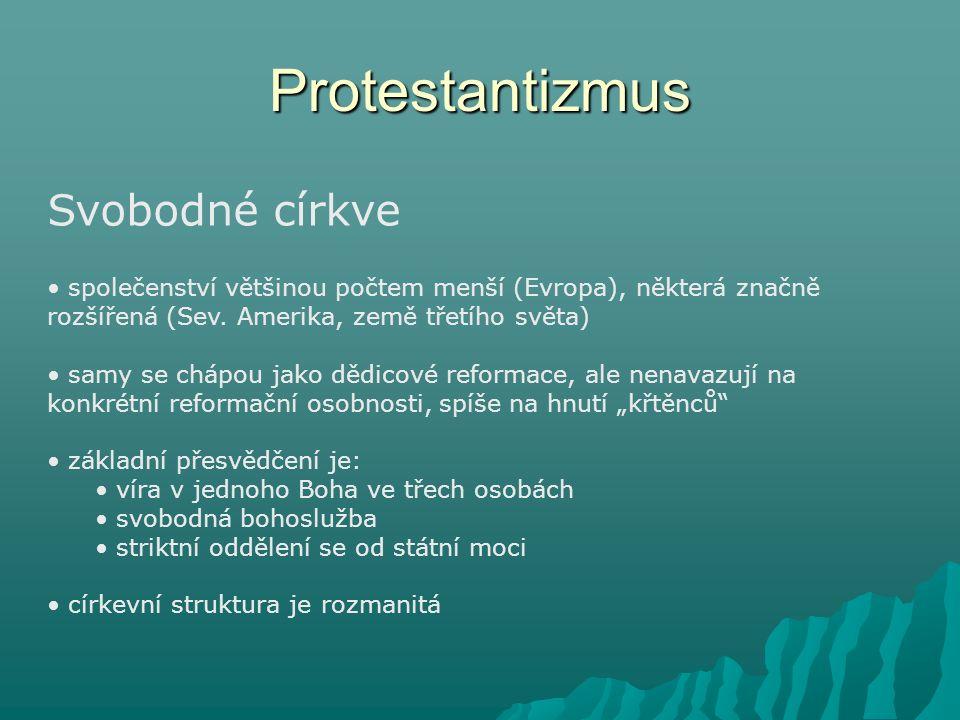 Protestantizmus Svobodné církve společenství většinou počtem menší (Evropa), některá značně rozšířená (Sev. Amerika, země třetího světa) samy se chápo