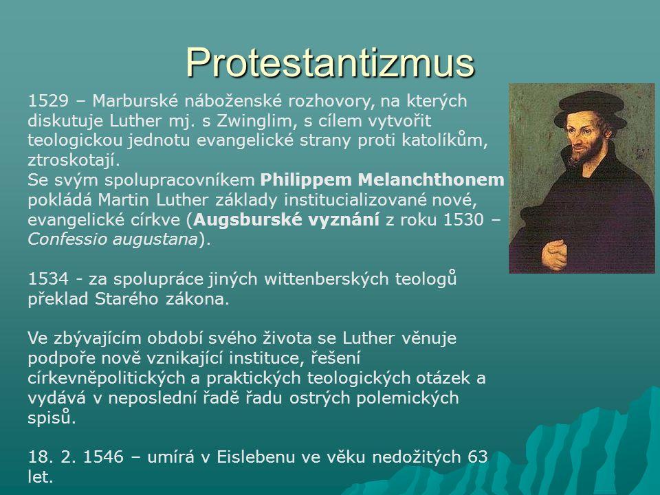 """Protestantizmus Texty Martina Luthera Překlady Bible – Nový zákon (1522) - Starý zákon (1534) Spisy 95 tezí (1517) Křesťanské šlechtě německého národa o zlepšení stavu křesťanstva (1520) Zvěst o babylónském zajetí církve (1520) O svobodě křesťanského člověka (1520) O světské vrchnosti (1523) Malý katechismus (1529) Velký katechismus (1529) Šmalkaldské články (1537) Proti židům a jejich lžím (1542) Proti římskému papežství, založenému od ďábla (1545) Písně Hrad přepevný jest Pán Bůh nášHrad přepevný jest Pán Bůh náš (protestantská """"hymna )"""