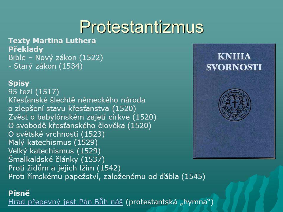 Protestantizmus Texty Martina Luthera Překlady Bible – Nový zákon (1522) - Starý zákon (1534) Spisy 95 tezí (1517) Křesťanské šlechtě německého národa