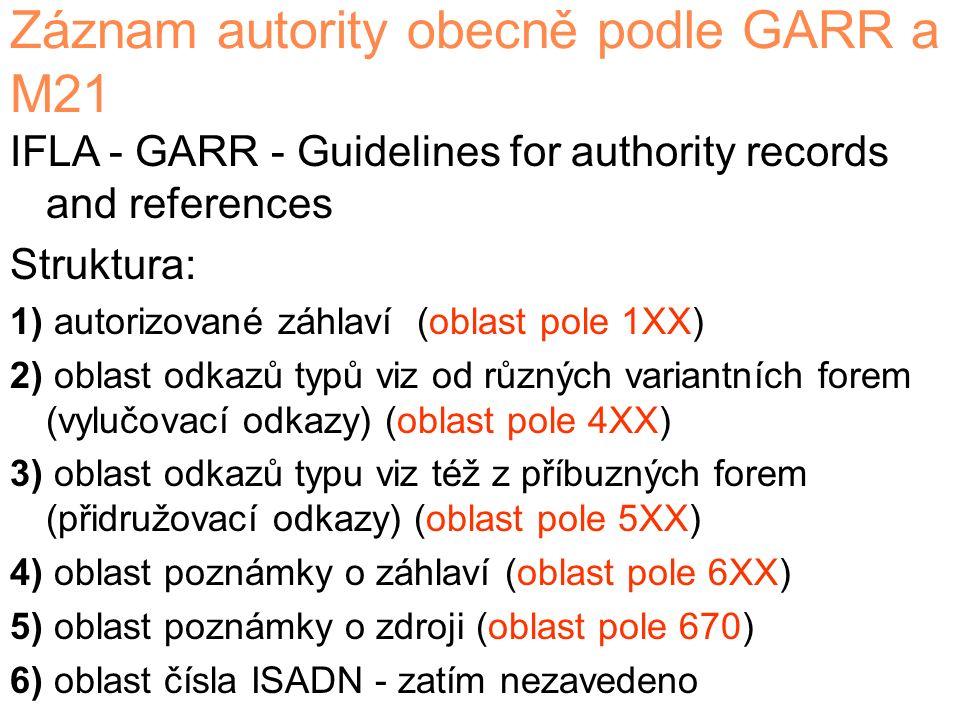 Záznam autority obecně podle GARR a M21 IFLA - GARR - Guidelines for authority records and references Struktura: 1) autorizované záhlaví (oblast pole 1XX) 2) oblast odkazů typů viz od různých variantních forem (vylučovací odkazy) (oblast pole 4XX) 3) oblast odkazů typu viz též z příbuzných forem (přidružovací odkazy) (oblast pole 5XX) 4) oblast poznámky o záhlaví (oblast pole 6XX) 5) oblast poznámky o zdroji (oblast pole 670) 6) oblast čísla ISADN - zatím nezavedeno
