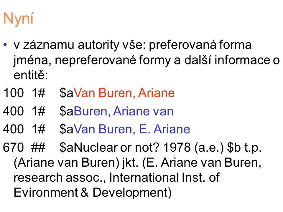 Nyní v záznamu autority vše: preferovaná forma jména, nepreferované formy a další informace o entitě: 1001#$aVan Buren, Ariane 4001#$aBuren, Ariane van 4001#$aVan Buren, E.