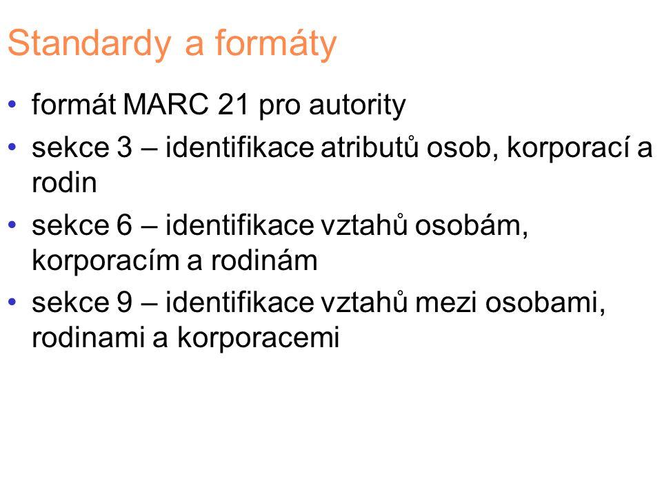 Standardy a formáty formát MARC 21 pro autority sekce 3 – identifikace atributů osob, korporací a rodin sekce 6 – identifikace vztahů osobám, korporacím a rodinám sekce 9 – identifikace vztahů mezi osobami, rodinami a korporacemi