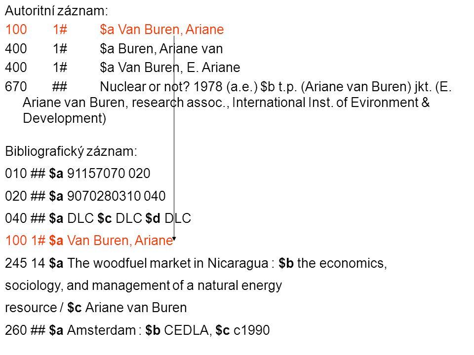 Autoritní záznam: 1001#$a Van Buren, Ariane 4001#$a Buren, Ariane van 4001#$a Van Buren, E.
