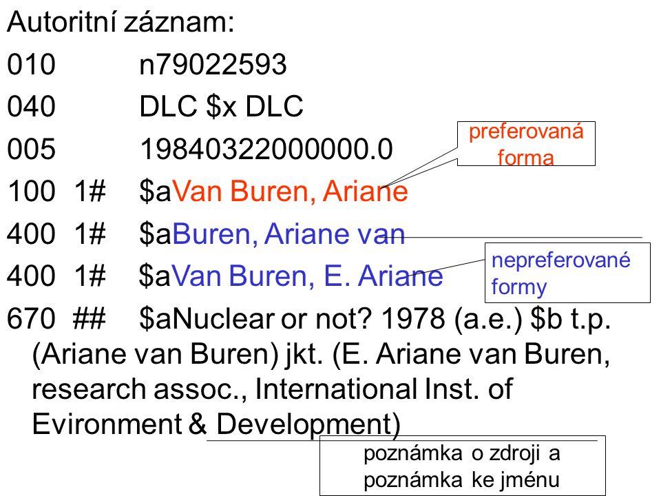 Autoritní záznam: 010n79022593 040DLC $x DLC 00519840322000000.0 1001#$aVan Buren, Ariane 4001#$aBuren, Ariane van 4001# $aVan Buren, E. Ariane 670##$
