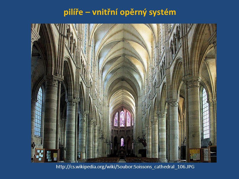 pilíře – vnitřní opěrný systém http://cs.wikipedia.org/wiki/Soubor:Soissons_cathedral_106.JPG