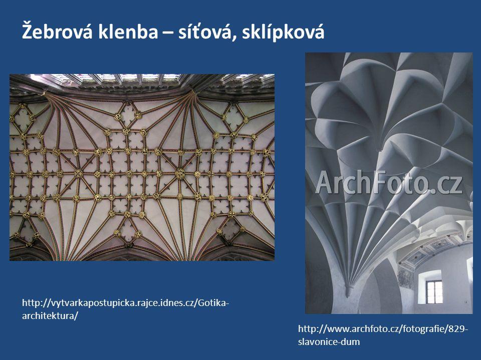 3/ slabší zdi – zpevněné systémem podpůrných pilířů a oblouků, které stavbu obepínaly i zvnějšku – odlišení od románských staveb http://cs.wikipedia.org/wiki/%C5%BDebro_%28architektura%29