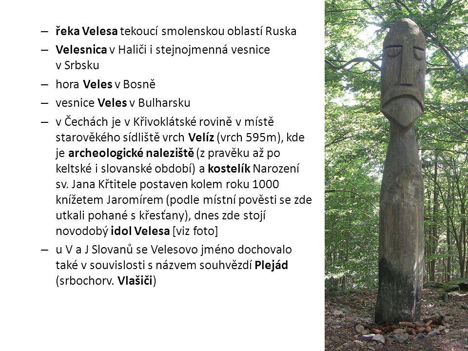 – řeka Velesa tekoucí smolenskou oblastí Ruska – Velesnica v Haliči i stejnojmenná vesnice v Srbsku – hora Veles v Bosně – vesnice Veles v Bulharsku –