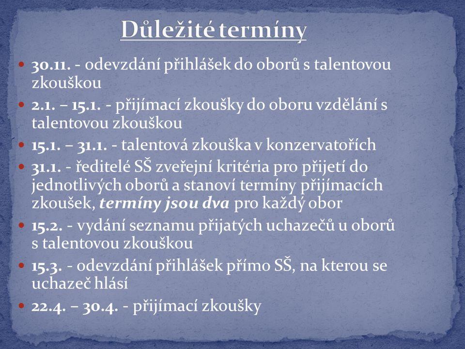 30.11. - odevzdání přihlášek do oborů s talentovou zkouškou 2.1.