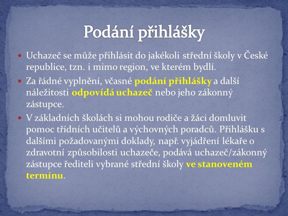 Uchazeč se může přihlásit do jakékoli střední školy v České republice, tzn.
