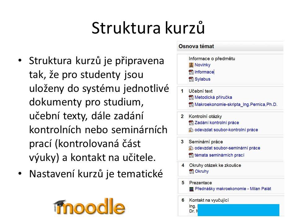 Struktura kurzů Struktura kurzů je připravena tak, že pro studenty jsou uloženy do systému jednotlivé dokumenty pro studium, učební texty, dále zadání