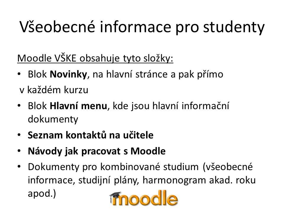 Všeobecné informace pro studenty Moodle VŠKE obsahuje tyto složky: Blok Novinky, na hlavní stránce a pak přímo v každém kurzu Blok Hlavní menu, kde js