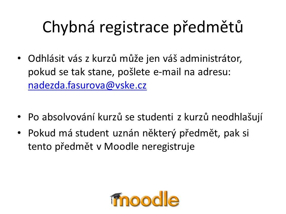 Chybná registrace předmětů Odhlásit vás z kurzů může jen váš administrátor, pokud se tak stane, pošlete e-mail na adresu: nadezda.fasurova@vske.cz nad