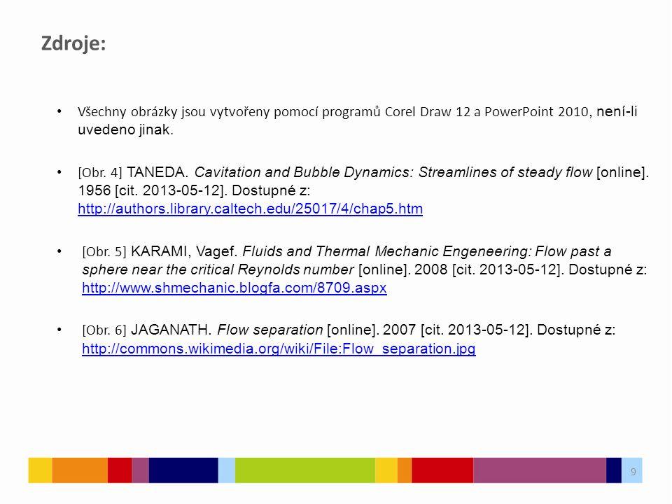Zdroje: Všechny obrázky jsou vytvořeny pomocí programů Corel Draw 12 a PowerPoint 2010, není-li uvedeno jinak. [Obr. 4] TANEDA. Cavitation and Bubble