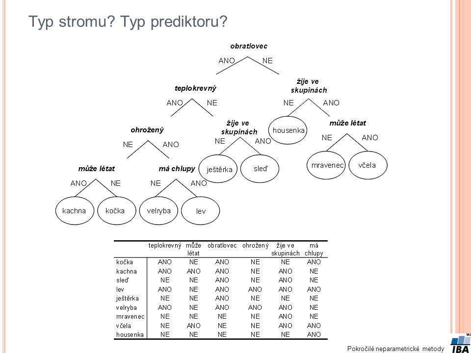 Pokročilé neparametrické metody Typ stromu? Typ prediktoru?