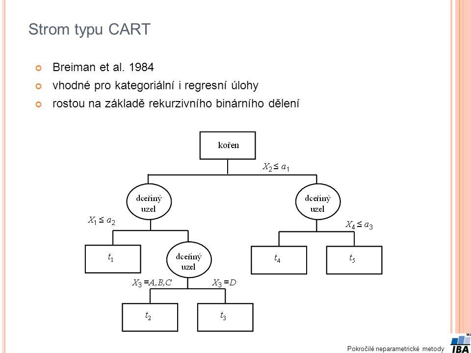 Pokročilé neparametrické metody Strom typu CART Breiman et al. 1984 vhodné pro kategoriální i regresní úlohy rostou na základě rekurzivního binárního