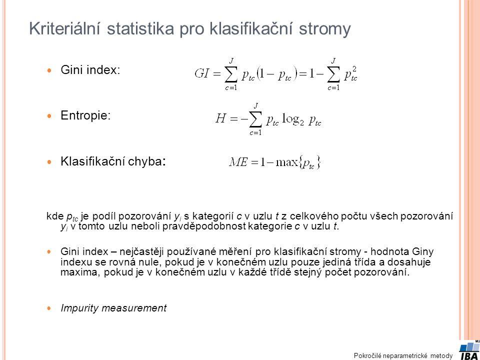 Pokročilé neparametrické metody Kriteriální statistika pro klasifikační stromy Gini index: Entropie: Klasifikační chyba: kde p tc je podíl pozorování