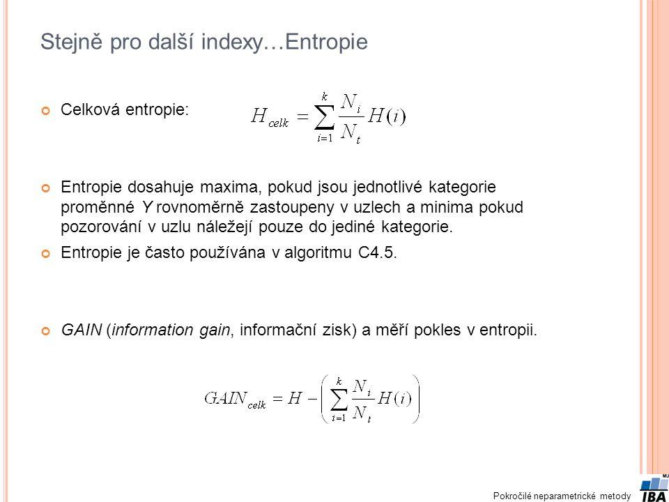 Pokročilé neparametrické metody Stejně pro další indexy…Entropie Celková entropie: Entropie dosahuje maxima, pokud jsou jednotlivé kategorie proměnné Y rovnoměrně zastoupeny v uzlech a minima pokud pozorování v uzlu náležejí pouze do jediné kategorie.
