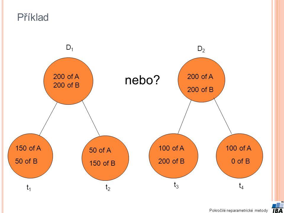 Pokročilé neparametrické metody Příklad 200 of A 200 of B 150 of A 50 of B 50 of A 150 of B nebo.