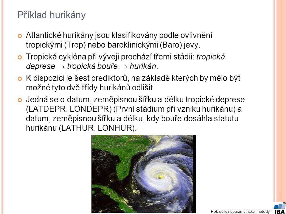 Pokročilé neparametrické metody Příklad hurikány Atlantické hurikány jsou klasifikovány podle ovlivnění tropickými (Trop) nebo baroklinickými (Baro) j