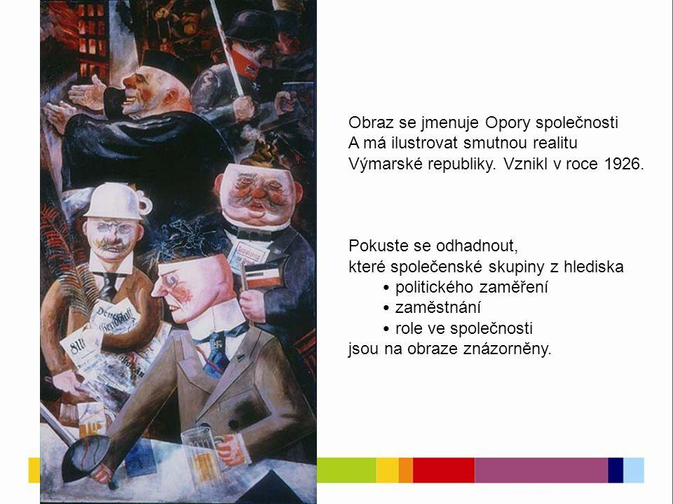 Obraz se jmenuje Opory společnosti A má ilustrovat smutnou realitu Výmarské republiky.