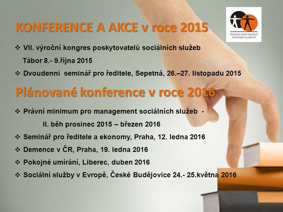 KONFERENCE A AKCE v roce 2015  VII. výroční kongres poskytovatelů sociálních služeb Tábor 8.- 9.října 2015  Dvoudenní seminář pro ředitele, Sepetná,
