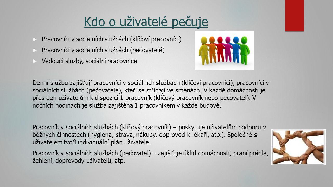 Kdo o uživatelé pečuje  Pracovníci v sociálních službách (klíčoví pracovníci)  Pracovníci v sociálních službách (pečovatelé)  Vedoucí služby, sociální pracovnice Denní službu zajišťují pracovníci v sociálních službách (klíčoví pracovníci), pracovníci v sociálních službách (pečovatelé), kteří se střídají ve směnách.