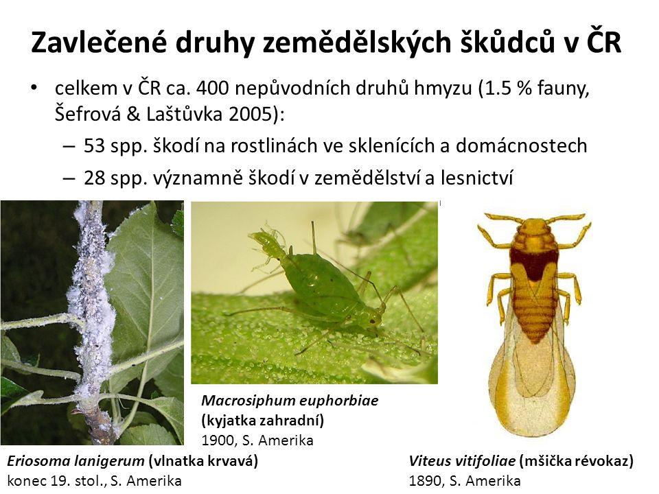 Zavlečené druhy zemědělských škůdců v ČR celkem v ČR ca.