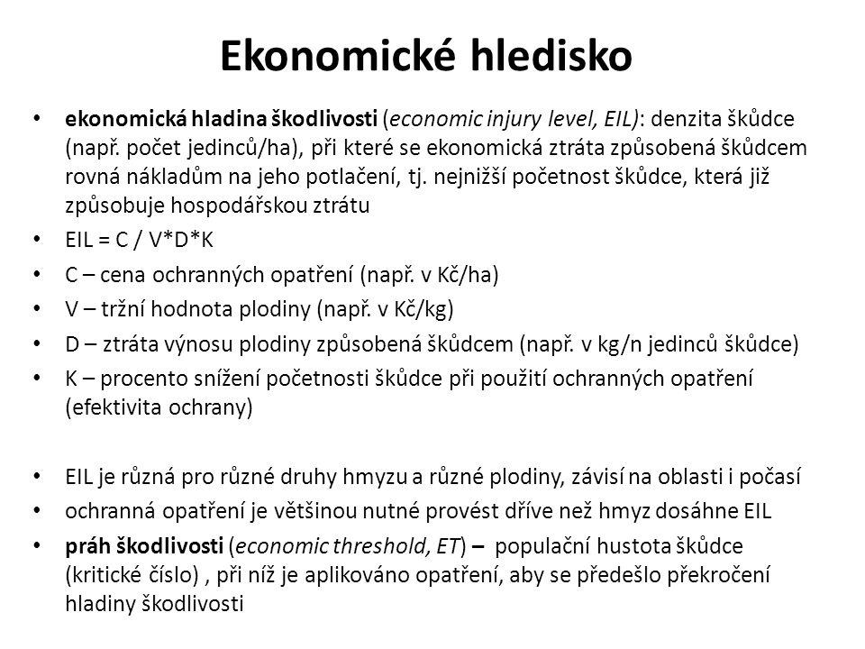 Ekonomické hledisko ekonomická hladina škodlivosti (economic injury level, EIL): denzita škůdce (např.