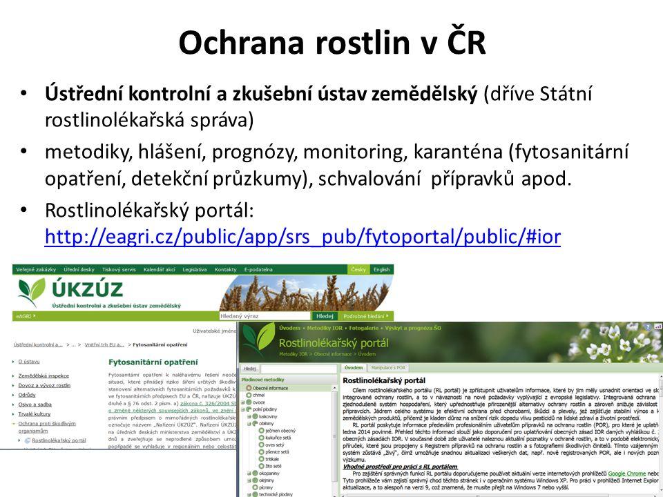 Ochrana rostlin v ČR Ústřední kontrolní a zkušební ústav zemědělský (dříve Státní rostlinolékařská správa) metodiky, hlášení, prognózy, monitoring, karanténa (fytosanitární opatření, detekční průzkumy), schvalování přípravků apod.