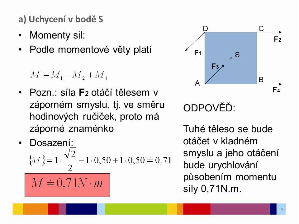 9 Vektorová přímka sil F 3 a F 4 procházejí bodem uchycení (osou otáčení) a jejich moment je tedy nulový.