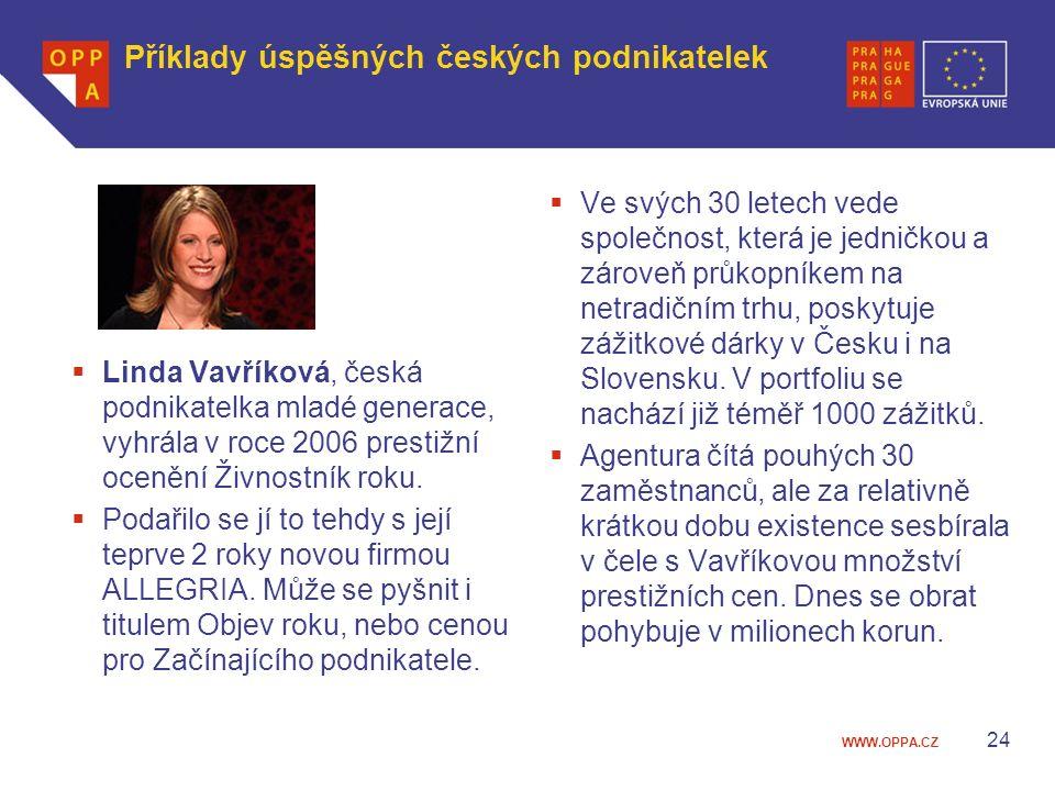 WWW.OPPA.CZ Příklady úspěšných českých podnikatelek  Linda Vavříková, česká podnikatelka mladé generace, vyhrála v roce 2006 prestižní ocenění Živnos