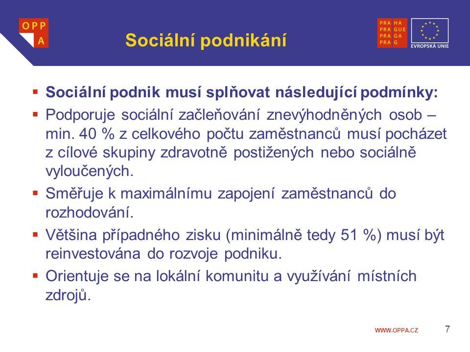 WWW.OPPA.CZ Sociální podnikání  Sociální podnik musí splňovat následující podmínky:  Podporuje sociální začleňování znevýhodněných osob – min. 40 %