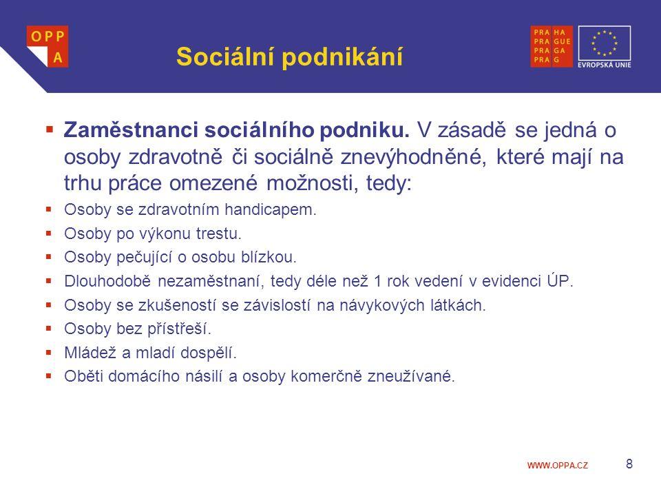 WWW.OPPA.CZ Sociální podnikání  Zaměstnanci sociálního podniku. V zásadě se jedná o osoby zdravotně či sociálně znevýhodněné, které mají na trhu prác