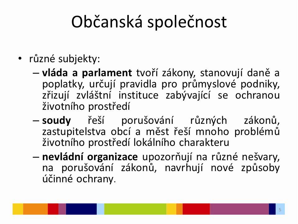 5 Občanská společnost různé subjekty: – vláda a parlament tvoří zákony, stanovují daně a poplatky, určují pravidla pro průmyslové podniky, zřizují zvl