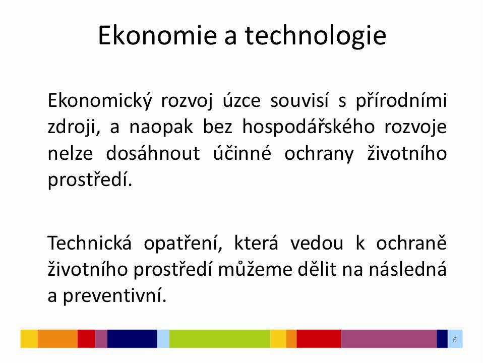 6 Ekonomie a technologie Ekonomický rozvoj úzce souvisí s přírodními zdroji, a naopak bez hospodářského rozvoje nelze dosáhnout účinné ochrany životní