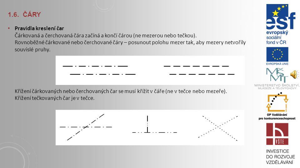 1.6. ČÁRY Dříve se používaly převážně pouze dvě tloušťky čar (tenká a tlustá v přibližném poměru 1:3). Výkres se kreslil v jedné tloušťce (0,25) a obr