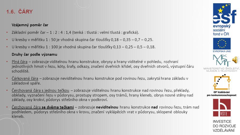 1.6. ČÁRY Pravidla kreslení čar Čárkovaná a čerchovaná čára začíná a končí čárou (ne mezerou nebo tečkou). Rovnoběžné čárkované nebo čerchované čáry –