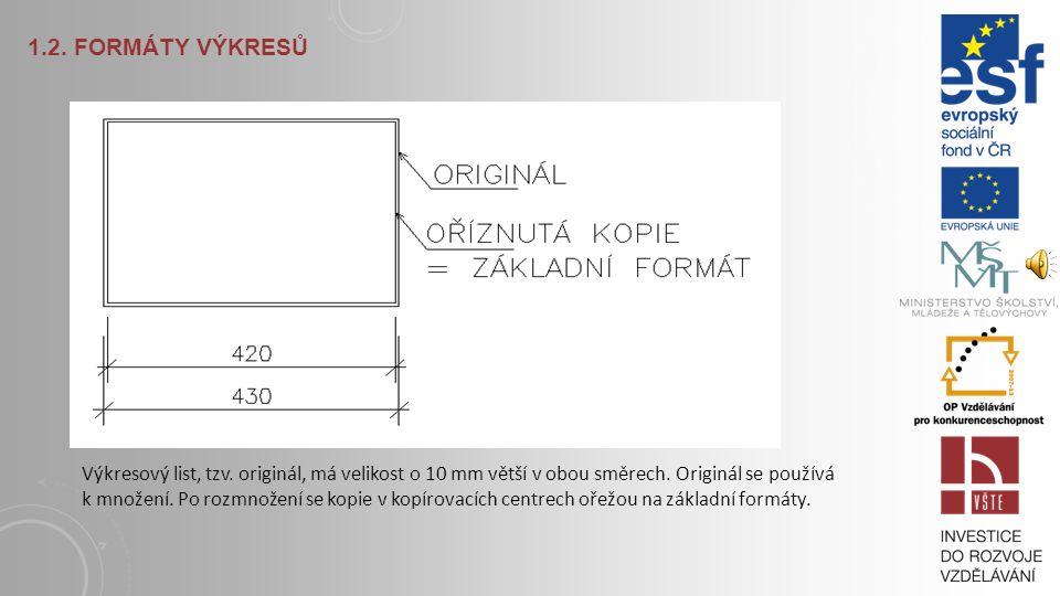 1.2. FORMÁTY VÝKRESŮ Výkresy se kreslí na normalizované formáty výkresových listů. Normové formáty z plochy 1 m 2 vyvinul Dr. Portmann. Základní formá